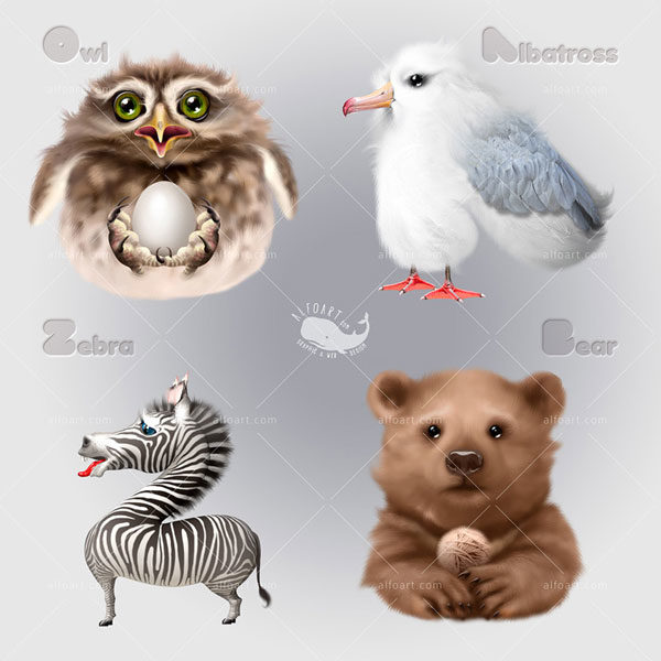 cute-animals-characters-owl-albatross-zebra-bear